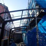 ポリカ脱着 足場設置 兵庫県高砂市 屋根手塗り塗装 ヨイトソウ