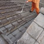 奈良県奈良市【瓦屋根塗装・洗浄中】
